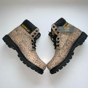 CAT Caterpillar Leopard Ponyhair Army Boots NWT 9